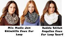 Collection XIIX Women's Loop Scarf & Wrap Mix Media Jam Chinchilla Faux Fur Loop