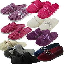 Ladies Faux Fur Knitted Slippers Memory Foam Mule Footsie Flip Flops Sizes 3-8