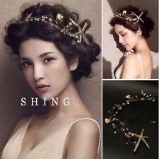 Rustic Gold Leaf Fairy Queen Elf Hairpin Crown Starfish Mermaid Wedding Bridal