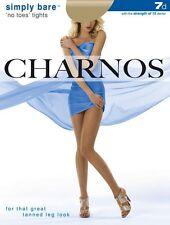 Charnos Simply Bare 'no toes' Sideria Tights 7 Denier Natural Tan Large