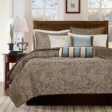 Beautiful Modern Elegant Chic Brown Blue Ivory Silver Grey Scroll Soft Quilt Set