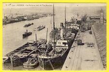 cpa 76 - ROUEN (Seine Maritime) La Seine en Aval du Transbordeur Péniches Toueur