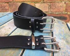 Nero Cintura in pelle doppio ardiglione larghezza 2 in (ca. 5.08 cm) HAND MADE 100% Vera Pelle 2 Prong