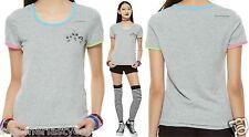 "The Powerpuff Girls ""Trio"" Short Sleeve Ringer Tee Shirt For Juniors Free Ship"