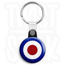 RAF Roundel Target - Keyring Button Badge - 25mm Mod Keyrings, Zip Pull Option