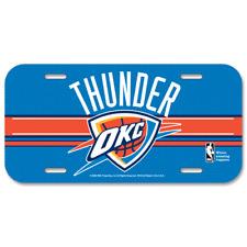 Oklahoma City Thunder NBA Basketball team Plastic License Plate, made in the USA