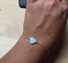 White Opal Heart Pendant Bracelet Sterling Silver October Birthstone Jewelry 1PC