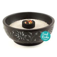 Floral Carved Soapstone Charcoal Burner Resin Incense Burner Bowl Censer + SAND