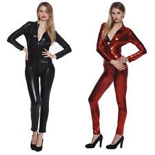 Sexy Women Ladies Zip Patent Leather Catsuit Cat Suit Jumpsuit Clubwear Bodysuit