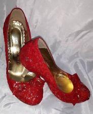 Decolletè Donna Sexy Fiocco Tacco Alto Scarpe 36 Rosso Oro Woman Shoes MADE ITA