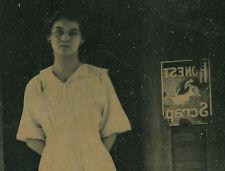 VINTAGE HONEST SCRAP PORCELAIN SIGN BRUNETTE GIRL SIGN OF TIMES OLD RPPC PHOTO