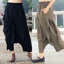 Womens Harem Trousers Casual Drop Crotch Irregular Cropped Pants Oversize Loose