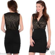 453 Women's Cocktail V-Neck Sleeveless Bodycon Stretch Black Dress Size S M L