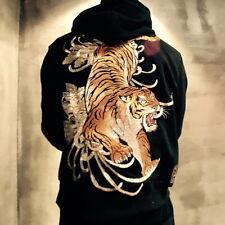 Mens Hoodie Japanese Pattern Embroidered Hooded Sweatshirt Tiger Sukajan Jacket