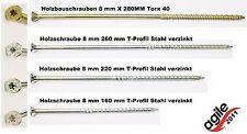Holzbauschrauben 8 mm X 160 - 220 - 260 - 280MM Torx 40,mit Senkkopf Konstruktio