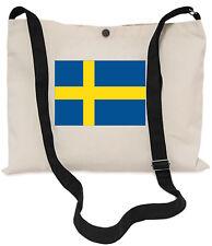Swedish Flag Canvas Musette Bag 40x30cm, 150cm Long black adjustable strap