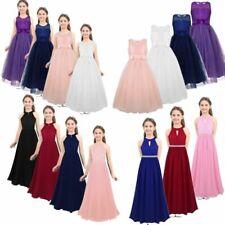 Girls Halter Flower Lace Junior Bridesmaid Dress Party Wedding Long Gown Dresse
