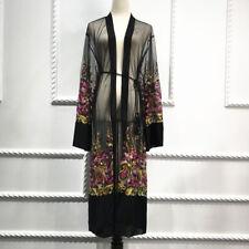 Plus Size Long Kimono 2018 Abaya Muslim Women Floral Embroidery Mesh Cardigan