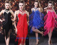 New Ladies Prom Party Ballroom Latin Tango Salsa Dance Dress Fringe Tassel Skirt