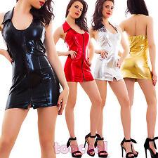 Vestito donna miniabito gogo abito lucido corto zip metallizzato nuovo LO-8812