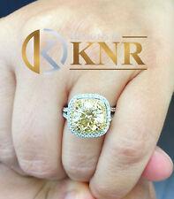 14k White Gold Round Citrine And Round Natural Diamonds Engagement Ring 4.00ct