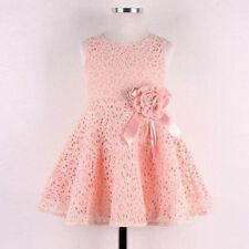 Niña Princesa Vestido De Fiesta Infantil Malla Completa Flores Rosa Cute