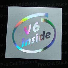 V6 All'interno Specchio D'Argento Ologramma Neo Cromato Auto Adesivi Decalcomanie JDM VW DUB Euro