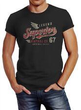 Neverless® Herren T-Shirt Vintage Retro Motiv Schriftzug Superior Legend Flügel