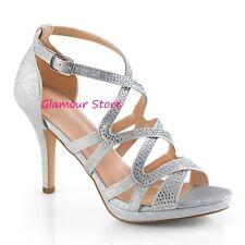 Sexy SANDALI STRASS tacco 9,5 dal 35 al 42 ARGENTO mini plateau scarpe GLAMOUR