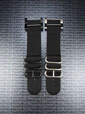 Suunto Core 2-Piece Nylon Diver Strap 3 Ring Watch Band Lugs Adapter Set Black