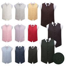 DQT New Jacquard Swirl Pattern Suit Vest Wedding Prom Men's Waistcoat & Tie