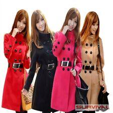 New Womens Coat Winter Jacket Warm Outerwear Free Belt Black Pink Tan Sz 6 8 10