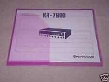 KENWOOD KR-7600  STEREO  RECEIVER  INSTRUCTION  MANUAL