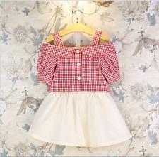 New 2pcs Toddler Girl Summer Dress Plaids Blouse+Skirts Kids Fashion Clothes Set