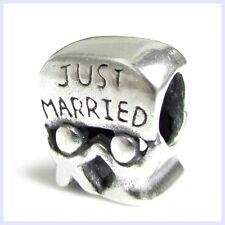 Sterling Silver Just Married Wedding Couple Love Bead f/ European Charm Bracelet