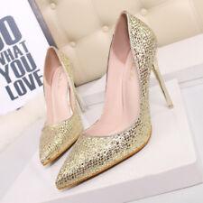 zapatos de salón mujer 10 cm elegantes tacón aguja oro strass como piel 9647