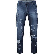 DeMina NEU HERREN GERADES BEIN Designer Patchwork Distressed Jeans