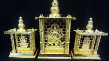 HINDU DEITY 3 DIFFERENT GOD/GODDESS MURTI IN GOLD COLOUR STATUE in A MANDIR