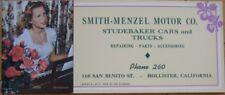 1940s Ad Blotter: Studebaker Cars-Hollister, California