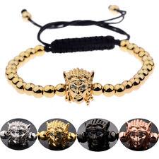 Fashion 18k Gold Plated Avatar Head Micro Zircon Beads Braiding Macrame Bracelet