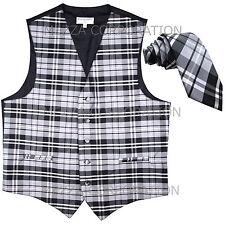 "New Vesuvio Napoli formal Men's plaid Tuxedo Vest_2.5"" Skinny Slim Necktie Gray"