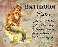Bathroom Rules Vintage Mermaid  Backround If it's up put it down Wall Art Print