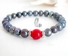 Chic Black Genuine pearls&Red Natural Coral Bracelet AU SELLER b052-8
