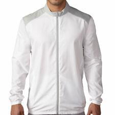 New Mens Adidas Club Wind Jacket White Grey Long Sleeve Rain Resistant Golf Coat