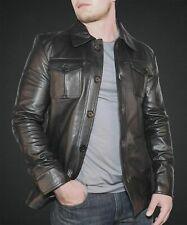 Genuine Leather Jacket, Men's Lambskin Handmade Black Motorcycle Racer Jacket