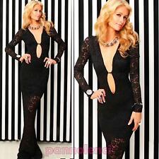 Vestido largo vestido mujer sirena ajustado encaje transparente nuevo DL-1297