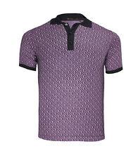 Billionaire Couture Black Violet Cotton Jersey Polo T-shirt BB Logo Pattern