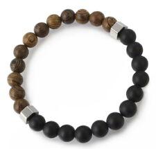 A61 Herren Armband Holz Perlen Achat Edelstahl Boho Mala Biker Rock Bracelet Men