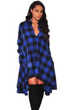 Azul y Negro Estampado a Cuadros Acampanada Hi Lo Camisa Vestido a Cuadros Tartán Manga Larga