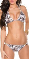 Edel SeXy ♥ Push up Neckholder Bikini Metallic Look 32 34 36 38 crem gold TOP